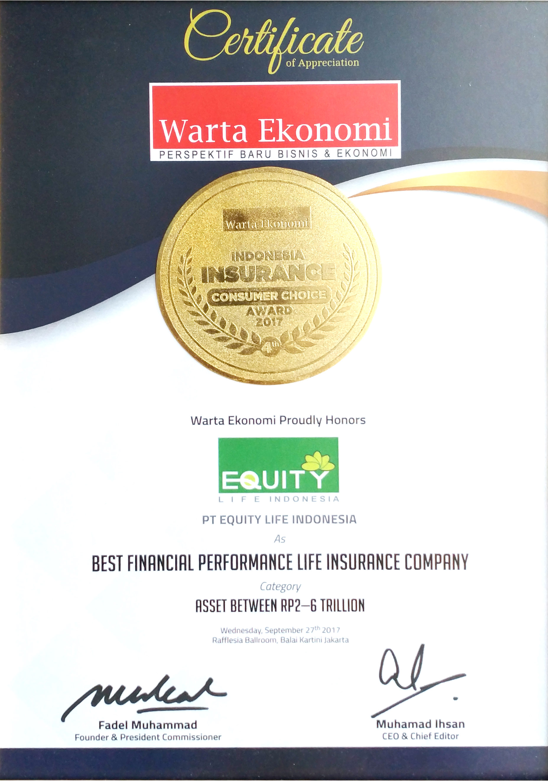 Best Life Insurance Company >> Awards Pt Equity Life Indonesia